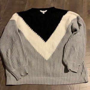 Chunky sweater Grey white and black sz Lg